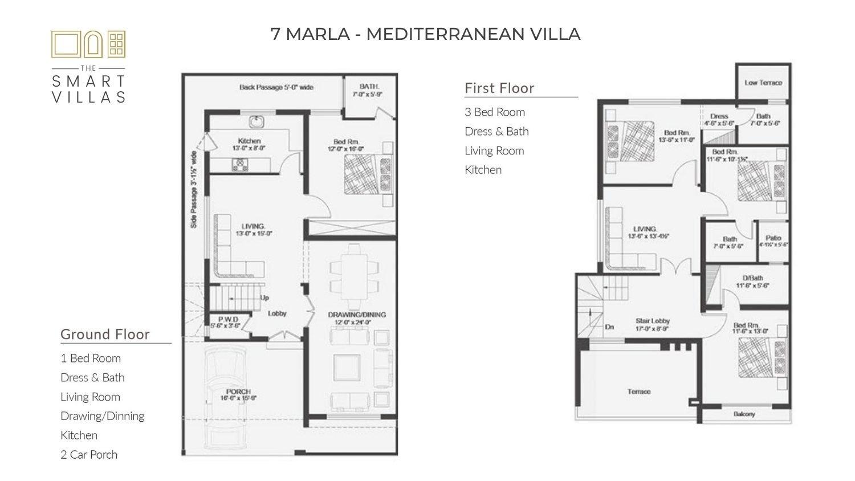 7 Marla Smart Villa - Mediterranean Style