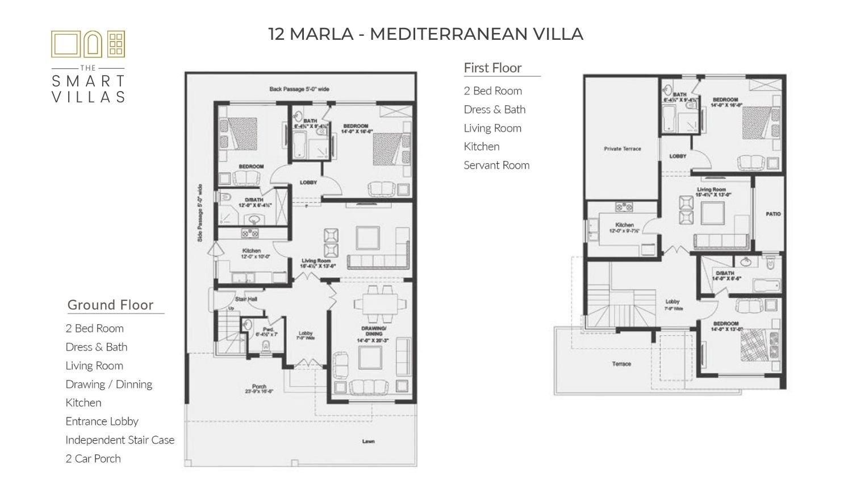 12 Marla Smart Villa - Mediterranean Style