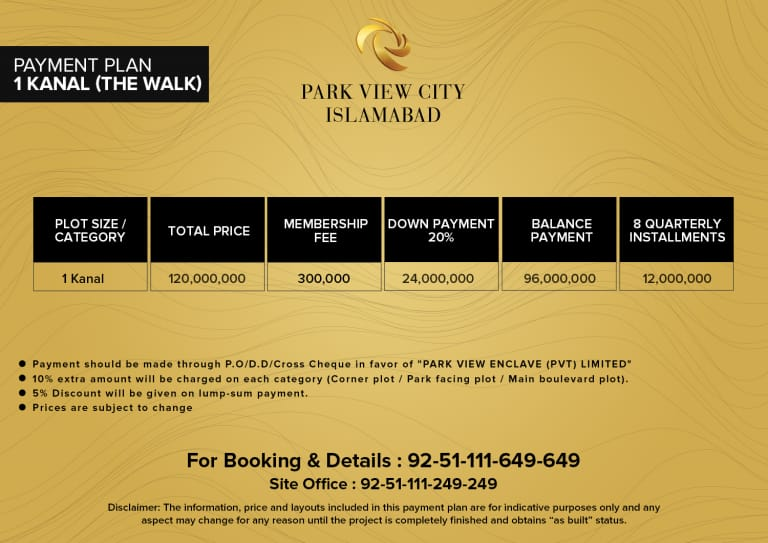 1 kanal the walk- payment plan -PVC Islamabad
