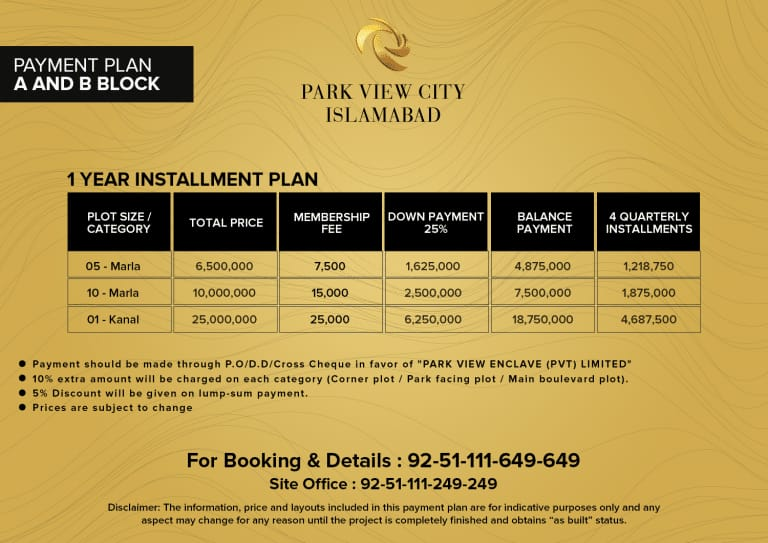 A & B block - Payment Plan - Park View City Islamabad