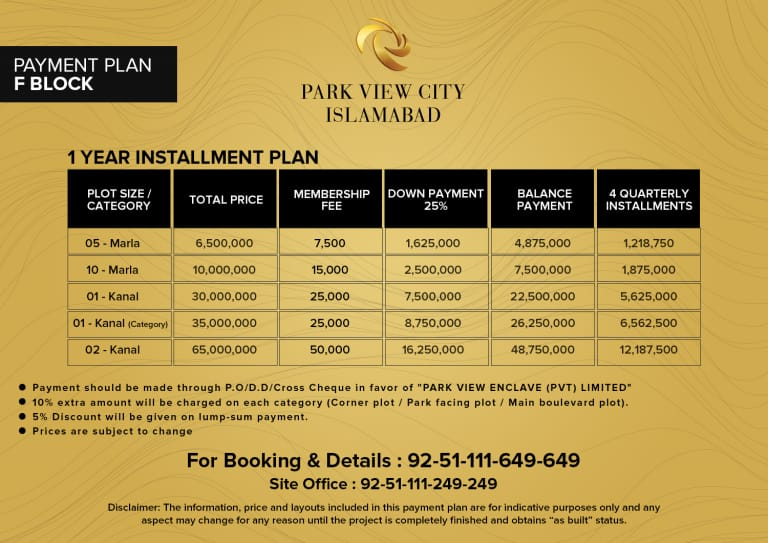 F block - Payment Plan - Park View City Islamabad