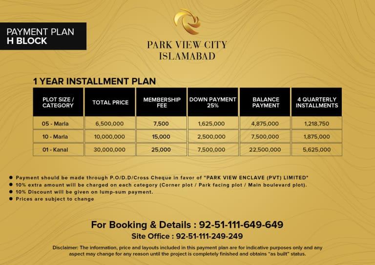 H Block - Payment Plan -PVC