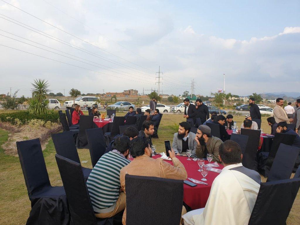 Sahban Tariq Malik sitting with investors and developers of rabi center gulberg