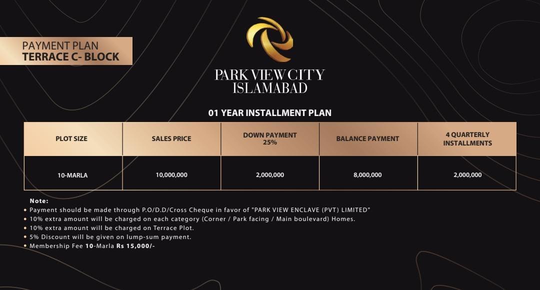 Park View City- Payment Plan- Terrace C block October 2020