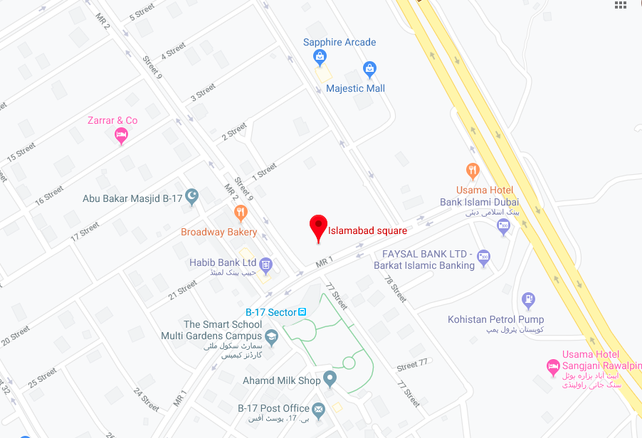 The location of Islamabad Square on google maps