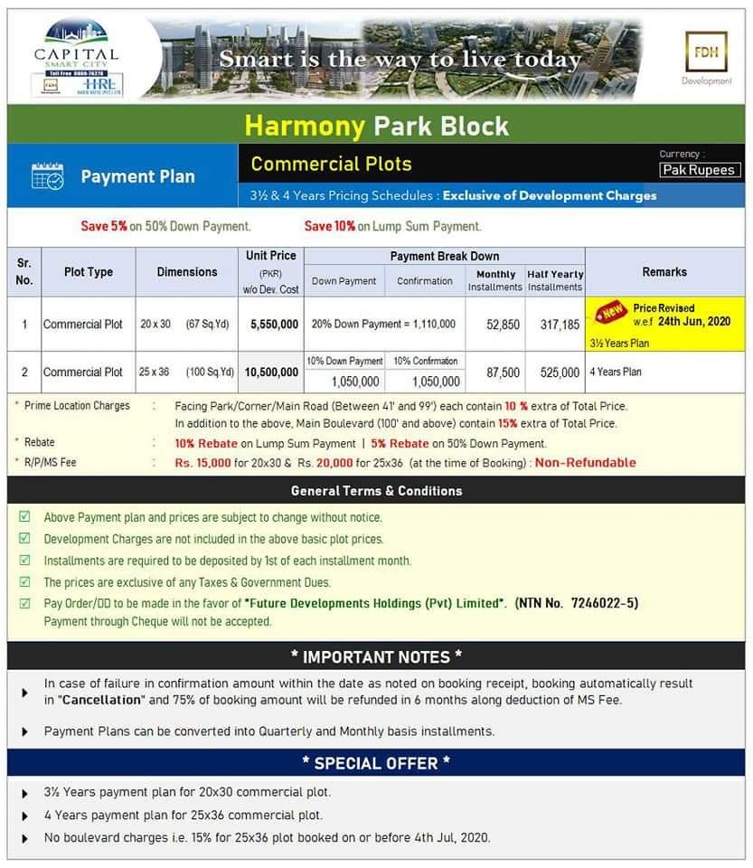 Harmony Park Block 2.5 marla Commercial Plot- June 2020