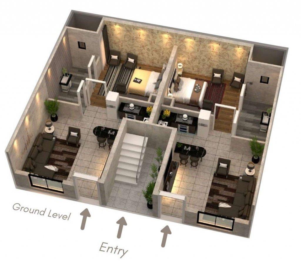 capital smart city - the villas in harmony park-3.5 marla villa apartment 3D view