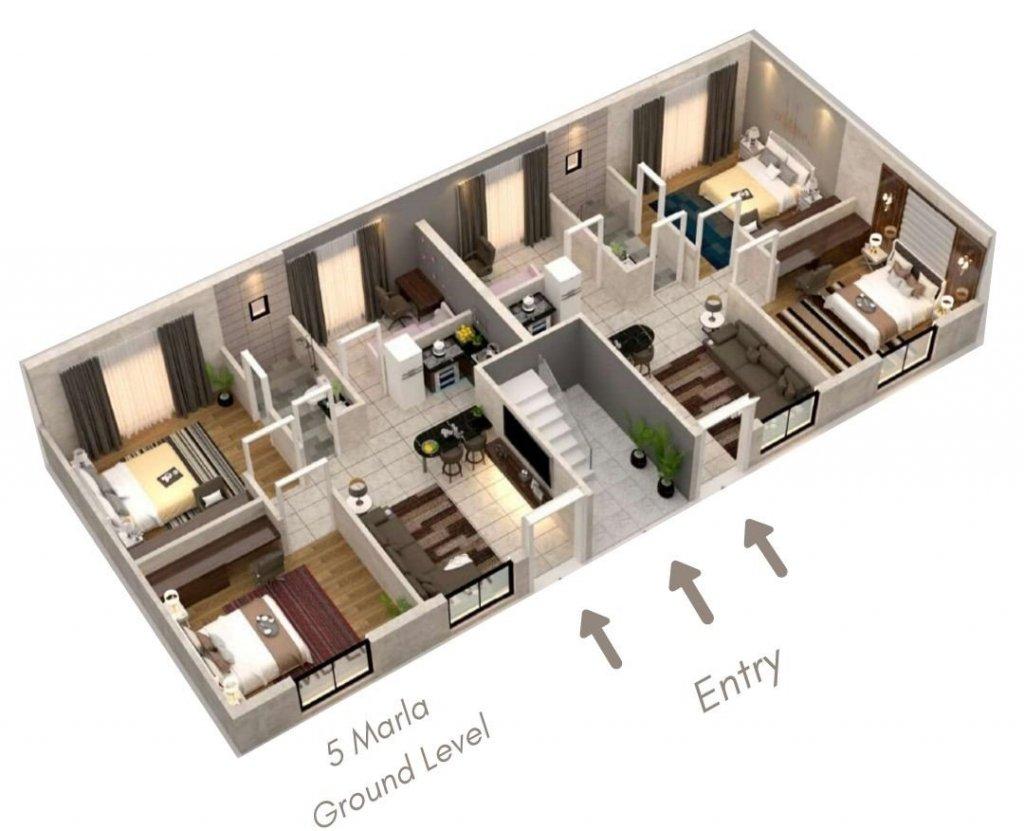capital smart city - the villas in harmony park-5 marla villa apartment 3D view
