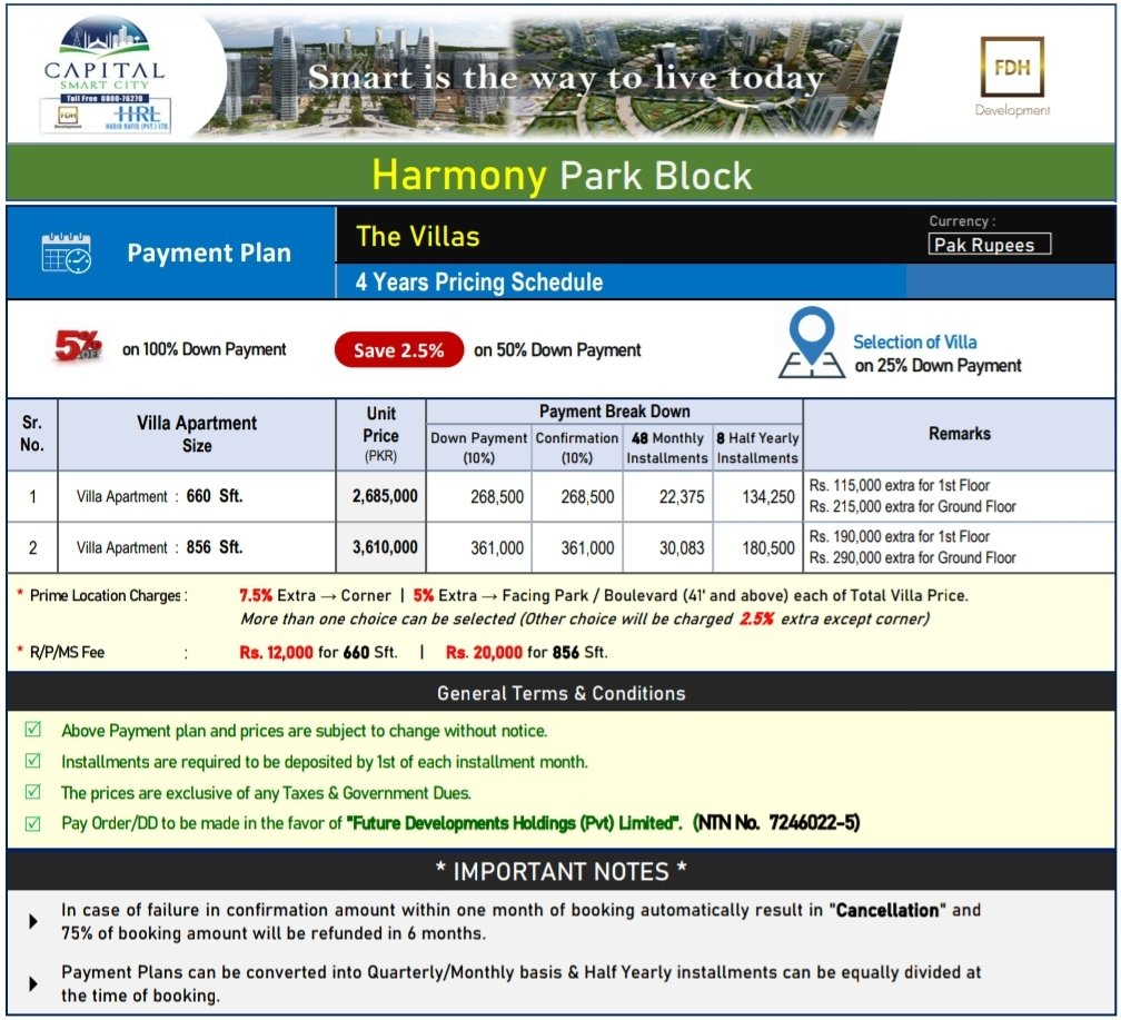 revised payment plan villa apartments by capital smart city