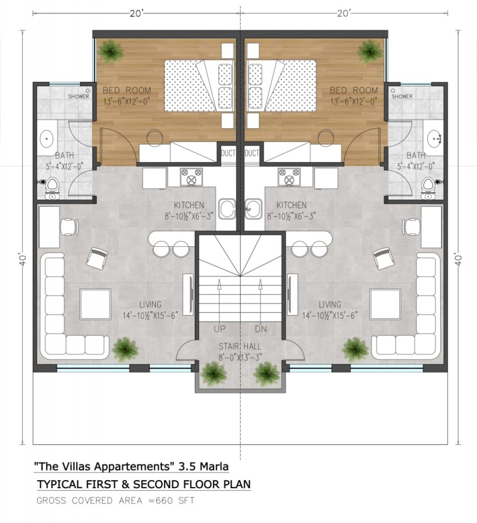the villas apartments 3.5 marla first and second floor plan