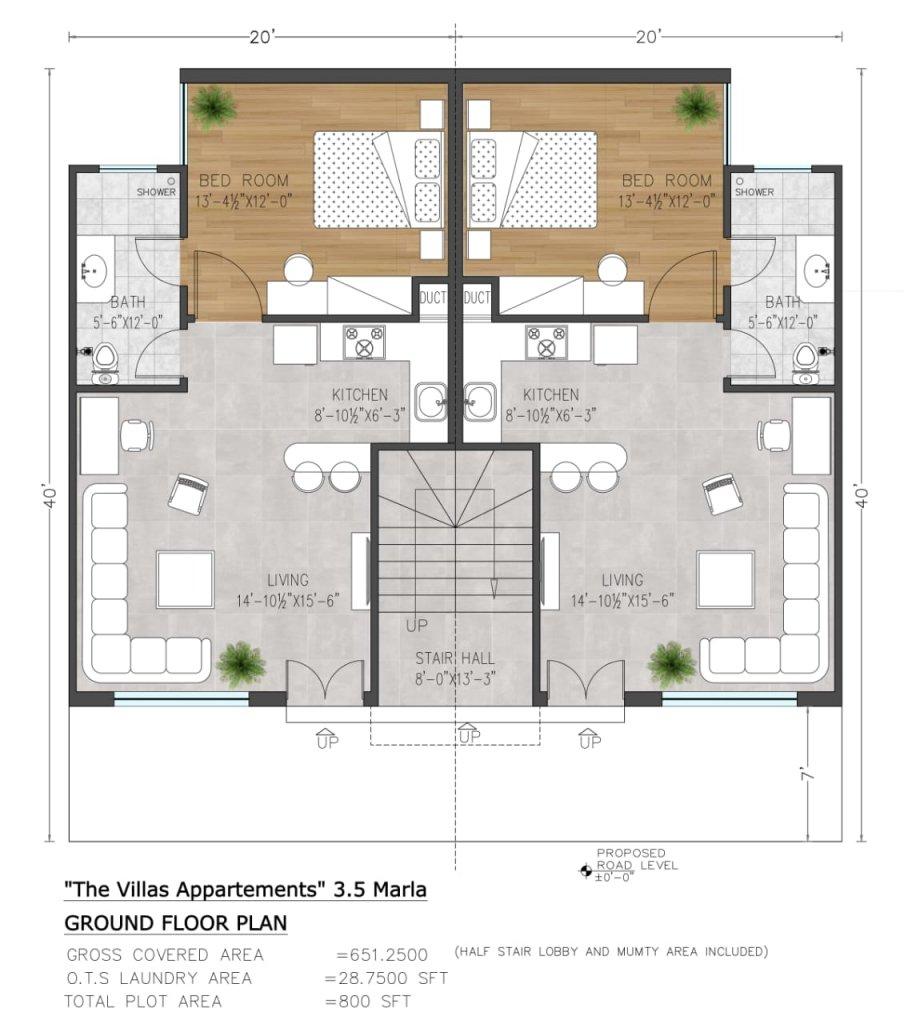the villas apartments 3.5 marla ground floor plan