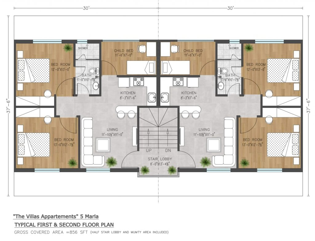 the villas apartments by capital smart city - 5 marla floor plan first and second floor