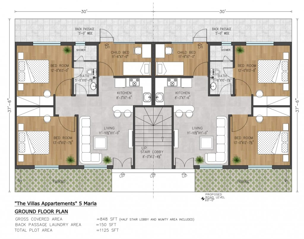 the villas apartments by capital smart city 5 marla floor plan - ground floor