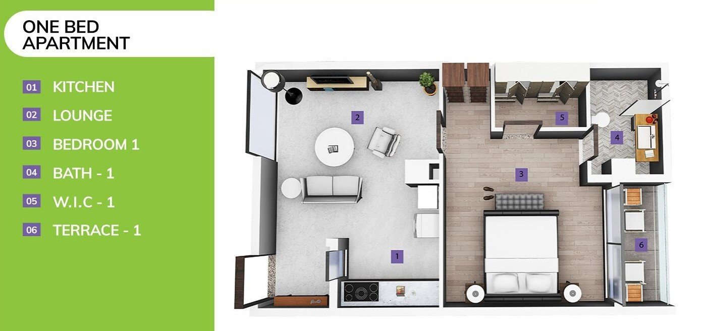 one-bed apartment in skypark one-3D floor plan