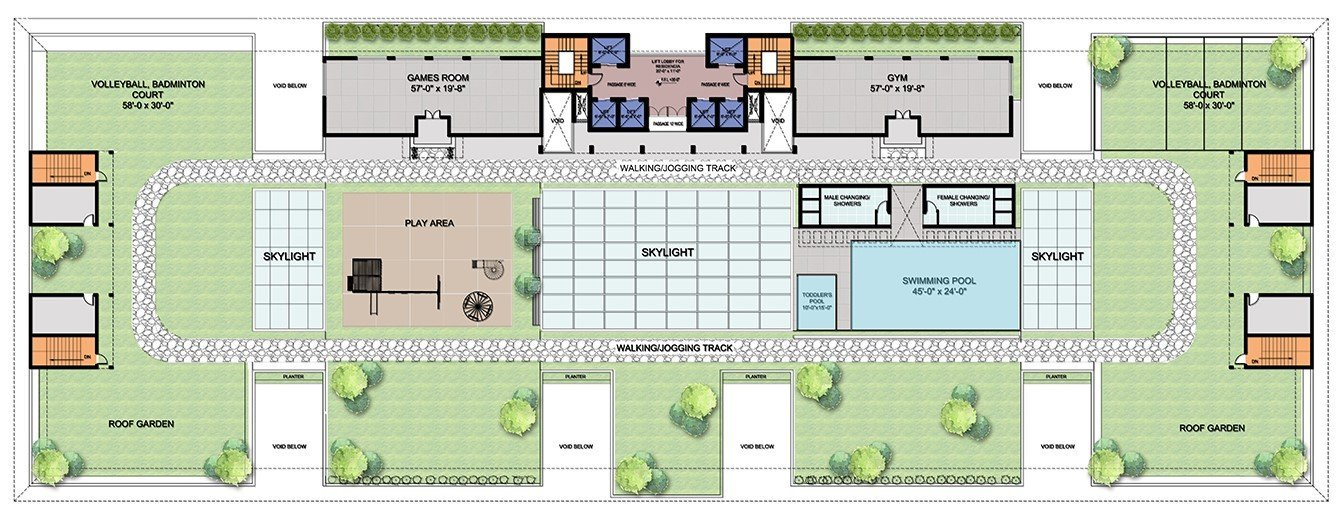 skypark-floor plan in skypark one-infinity pool, gym, garden, volleyball and badminton court