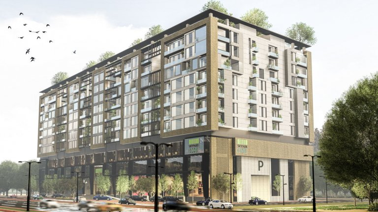 skypark one gulberg greens-shopping mall, food court and luxury apartments