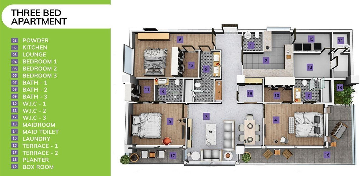 three-bed apartment in skypark one-3D floor plan