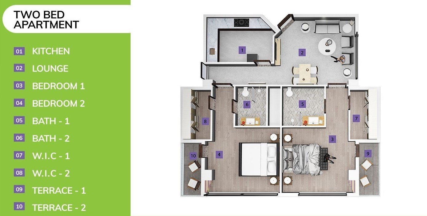 two-bed apartment in skypark one-3D floor plan