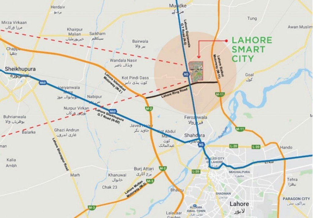 lahore smart city location on lahore ring road and m-11 motorway