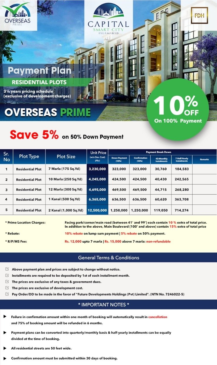 Overseas Prime block in capital smart city payment plan