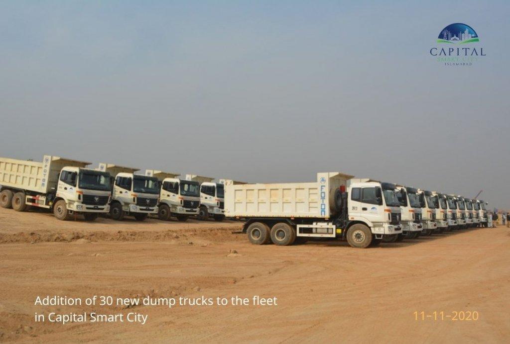 30 new dump trucks added to the development fleet in capital smart city islamabad
