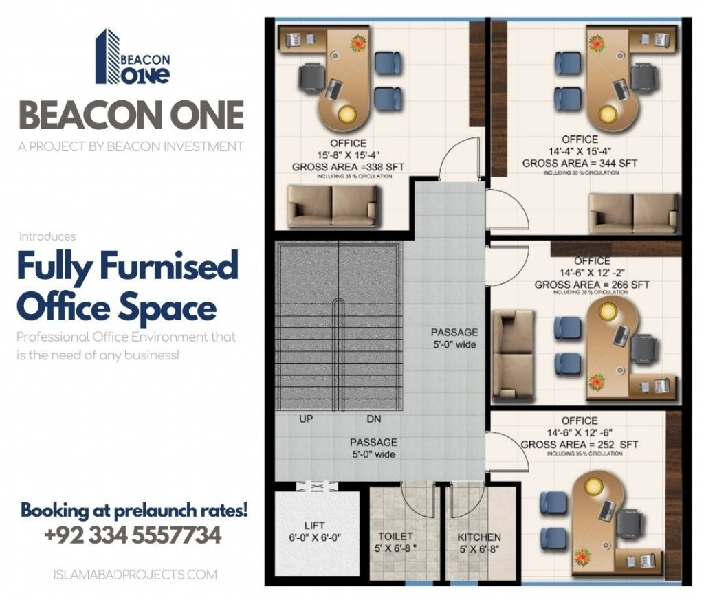 beacon one - fully furnished office space in bahria town islamabad for sale