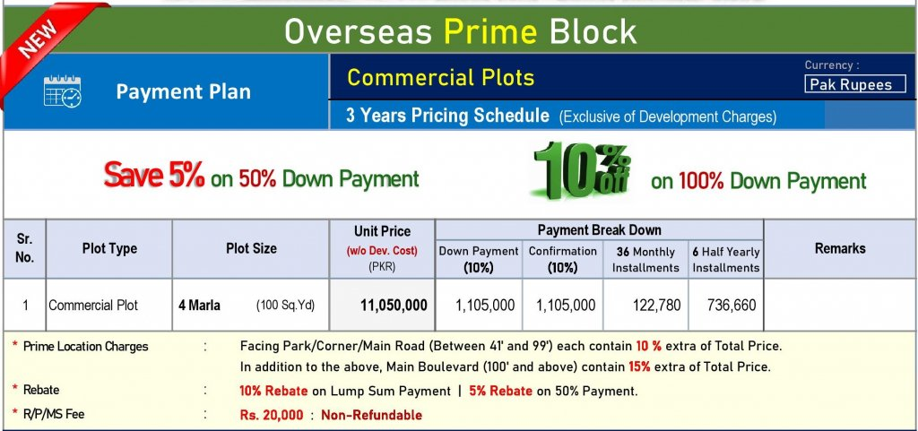 overseas prime commercial - payment plan 4 marla