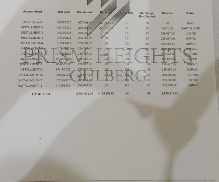 Payment Plan for shop 120 for sale in prism heights