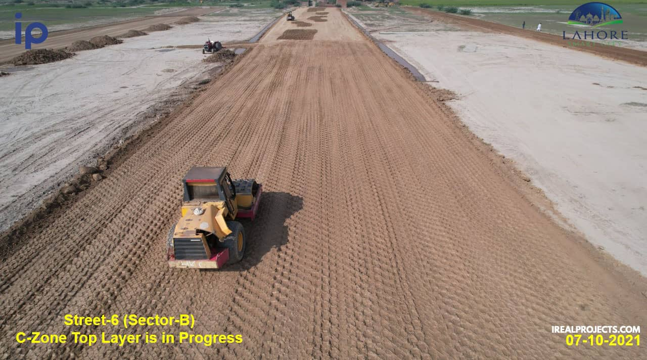 Preparation of Road 6 in sector B - Lahore Smart City