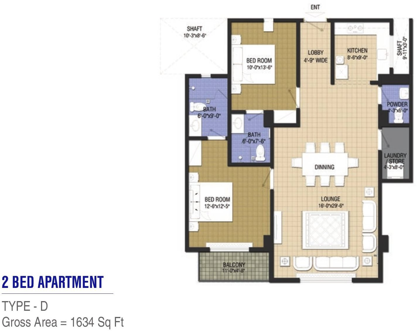 Goldcrest Chic 2 - 2 bed - Type