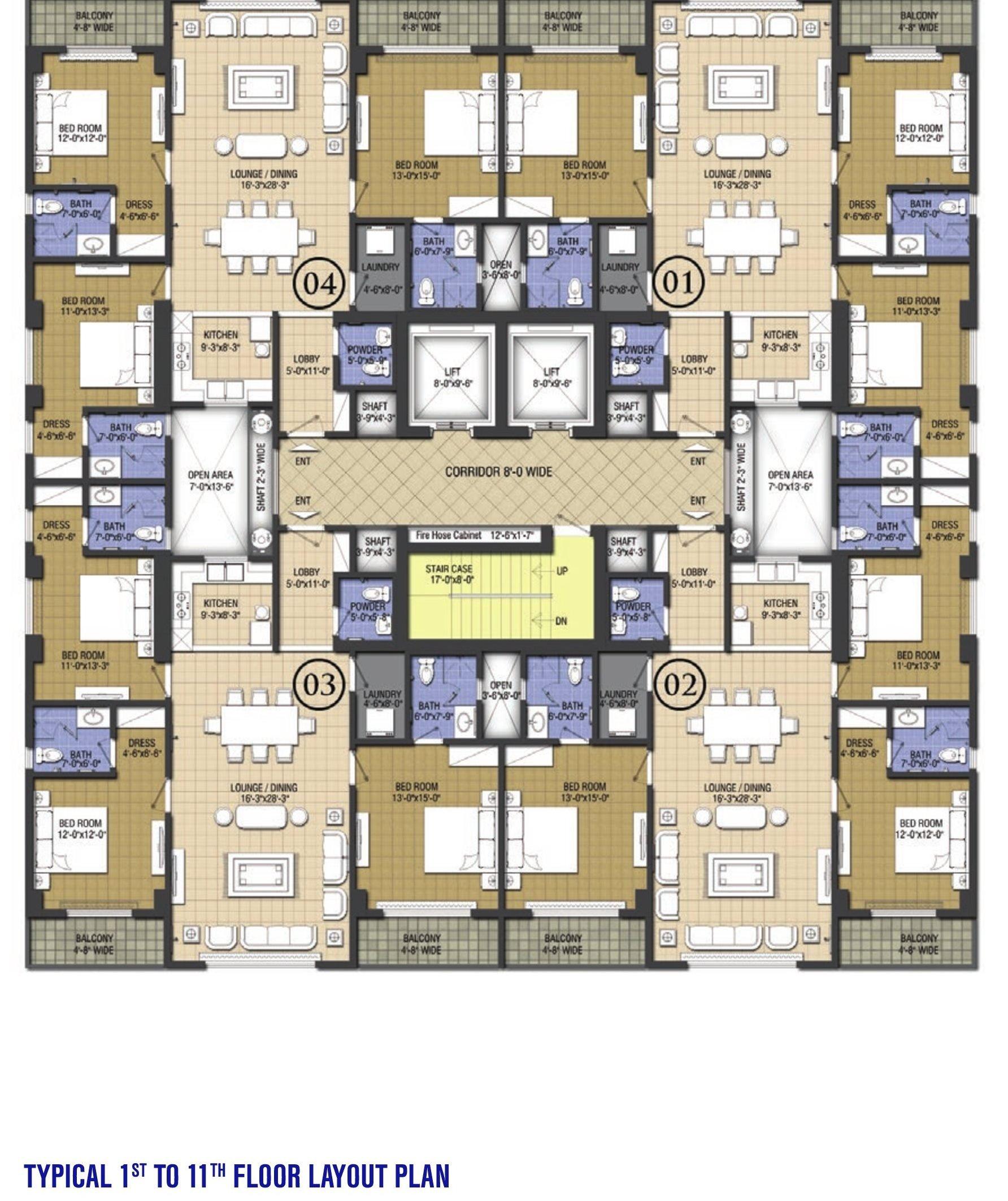 Goldcrest Chic 3- 1 to 11 floor plans
