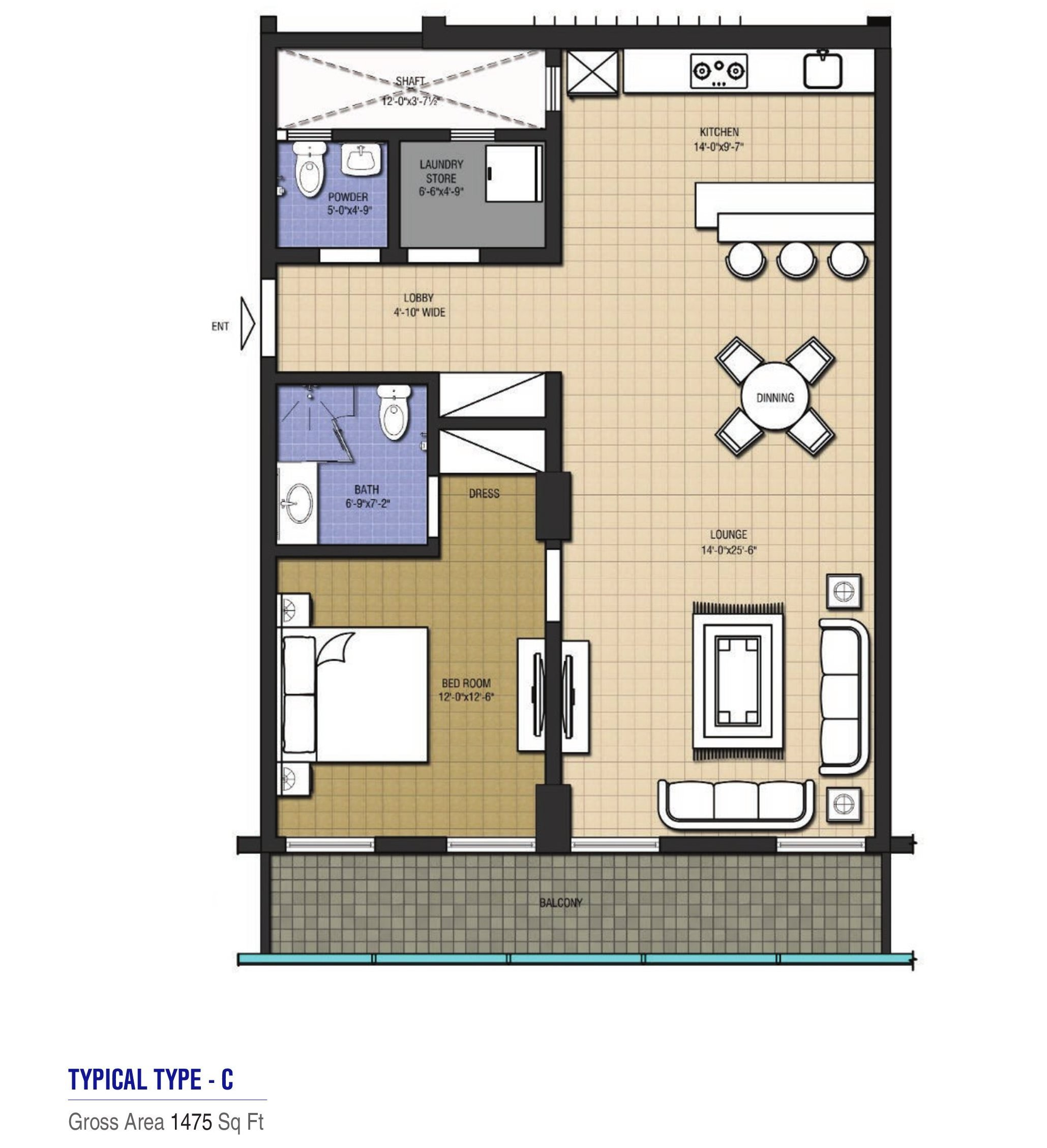 Goldcrest Highlife Grand - 1 bed apartment - type c