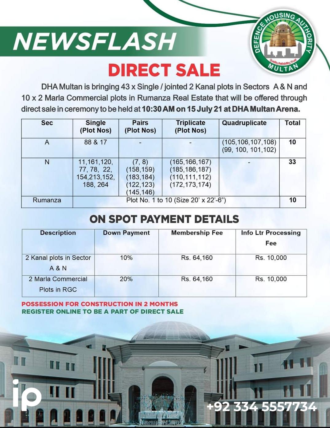 Direct sale plots & payment details - DHA Multan
