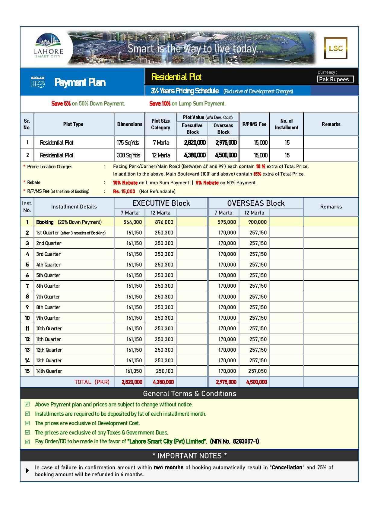 LSC Payment Plan - 7 & 12 Marla - Sep 2020