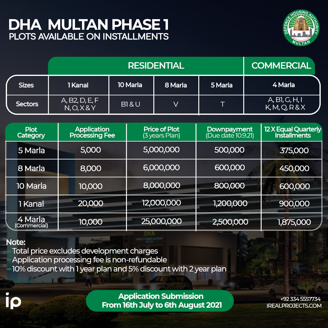 Plots on Installments in DHA Multan Pahase-1