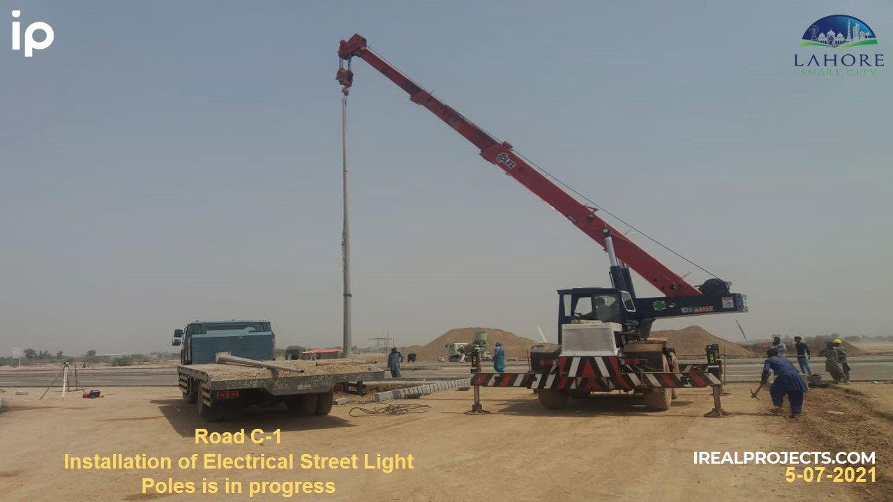 Street Light Poles at C1 Road - Lahore Smart City