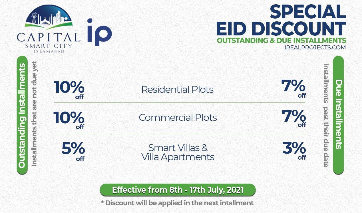 capital smart city discount offer on installments details