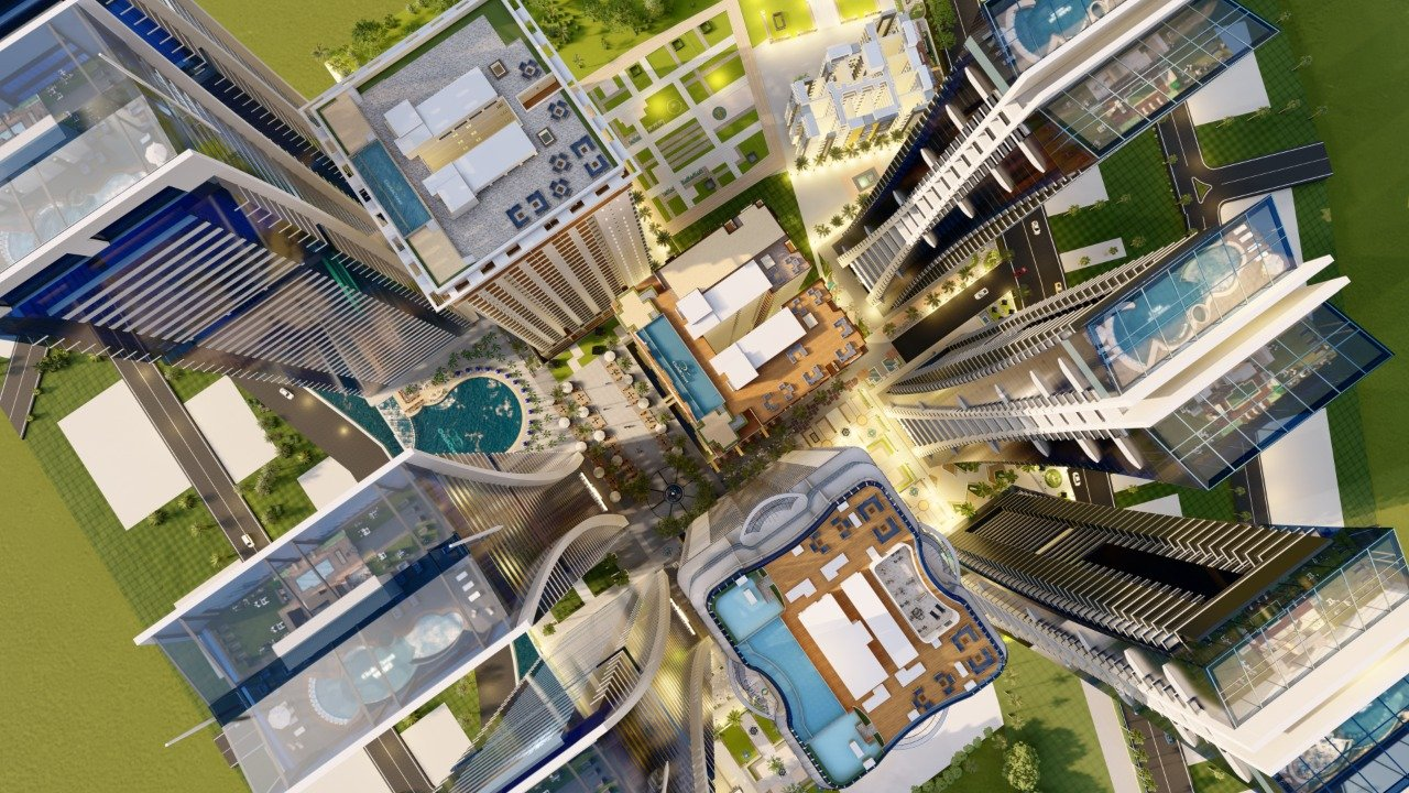 Aerial view of goldcrest views towers
