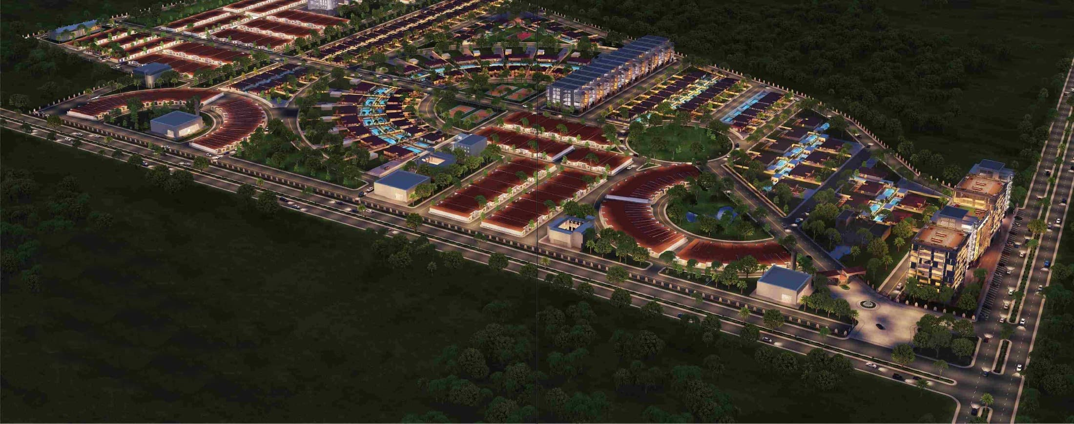 Aerial view of The Gardens Residence - Residential plots and villas on M9 Motorway