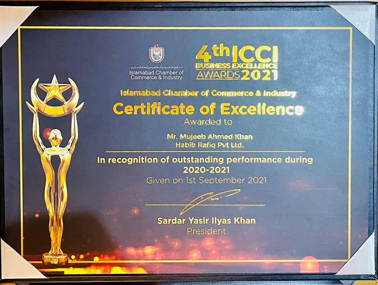 Certificate of excellence by ICCI to General Manager Sales Marketing of LSC and CSC