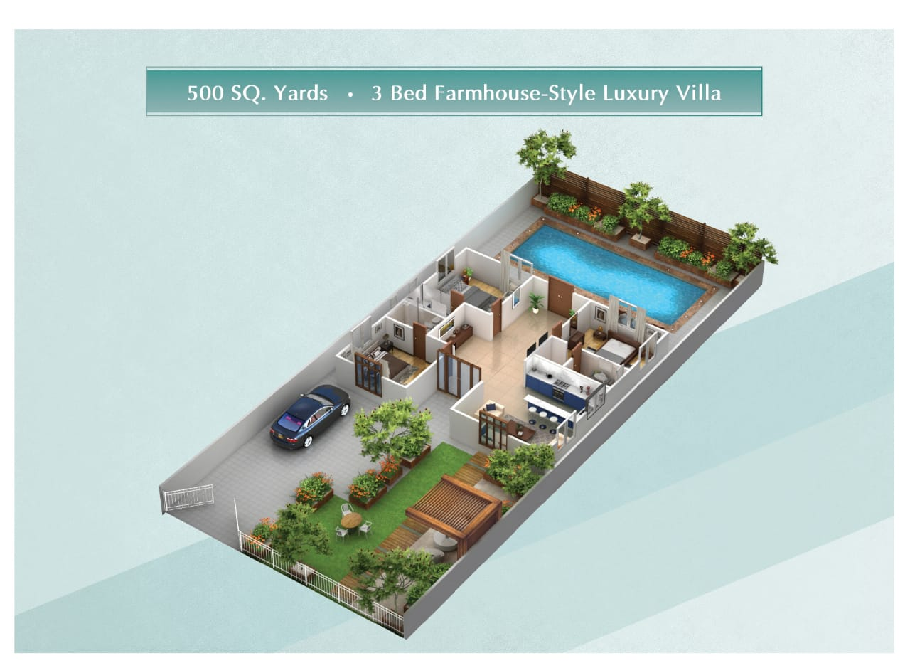 Floor-plan-of-500-sq-yards-3-bed-farmhouse-style-villa-The-Gardens-Residence