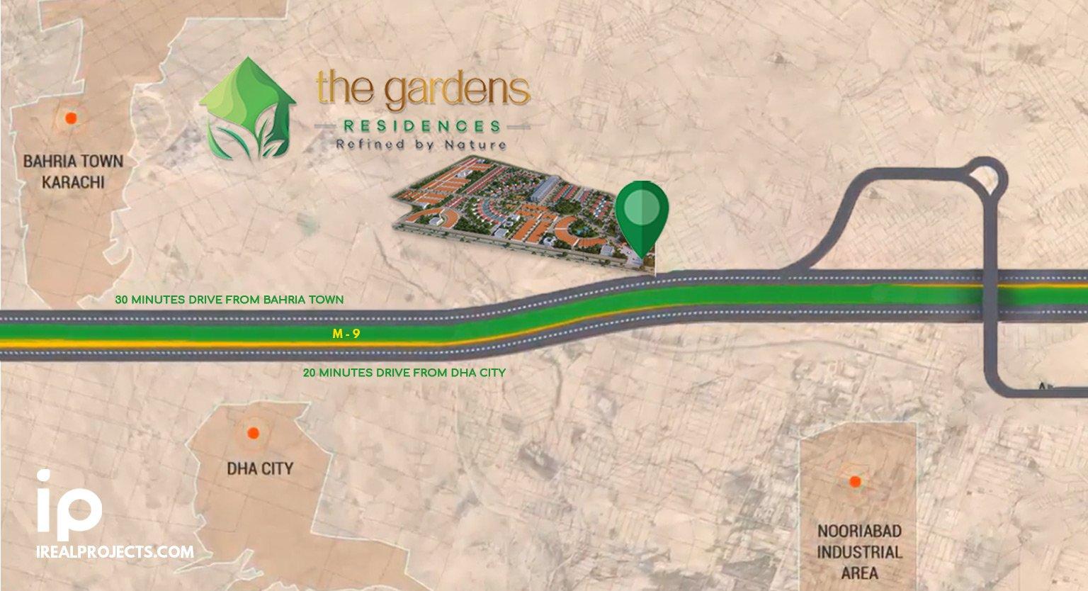 Location map of The Gardens Residences Karachi - m9 motorway - farmhouse plots