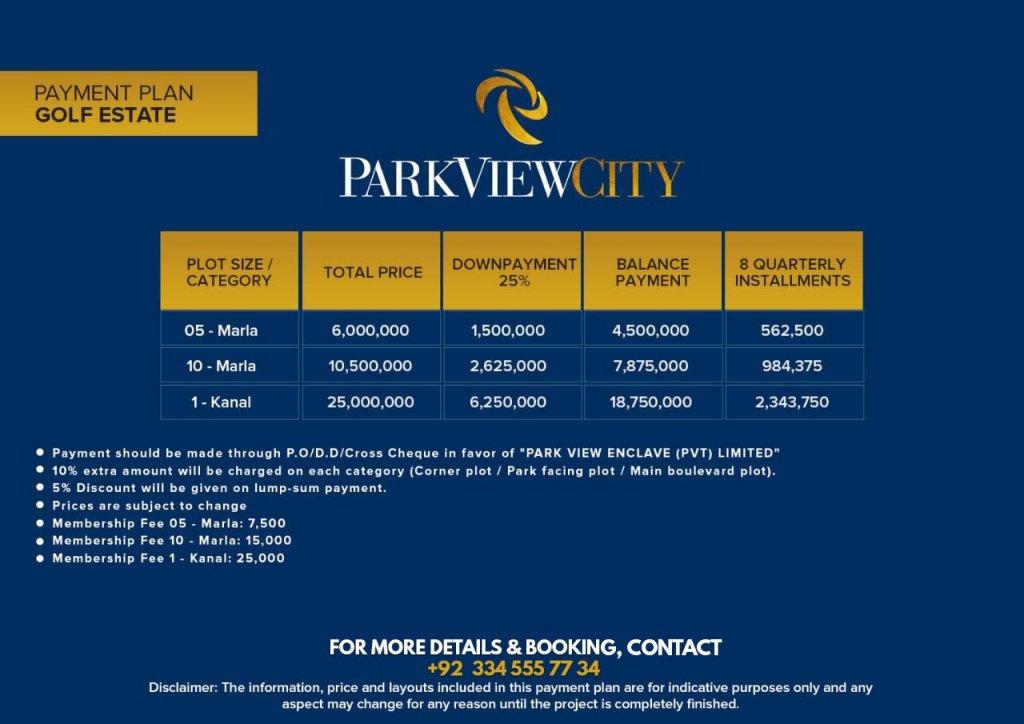 payment plan of Park View City - Golf Estate
